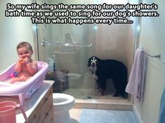 So cute. Puppy wants his bath, too.