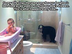 So cute. Puppy wants his bath, too.