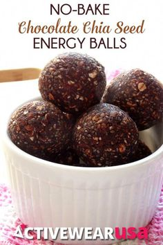 No-Bake Chocolate Chia Seed Energy Balls (breakfast snacks no bake energy bites) Good Healthy Recipes, Healthy Foods To Eat, Healthy Desserts, Raw Food Recipes, Snack Recipes, Healthy Eating, Recipes With Chia Seeds, Healthy Menu, Healthy Appetizers