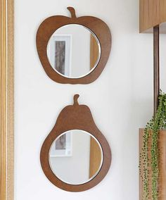 Fruit shaped wooden mirrors by Bride & Wolfe, part of the Made by Hand series by @Jacqueline Fink of Little Dandelion on the Temple & Webster blog.
