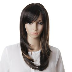 Capless High Quality Synthetic Brown Straight Hair Wig – USD $ 39.99