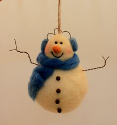 Snowman Ornament Wet and Needle Felted Large 5 Tall by Liongate