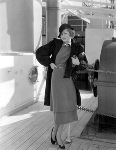 Constance Bennett on her way to a European vacation aboard the SS Delftdyk. March, 1933