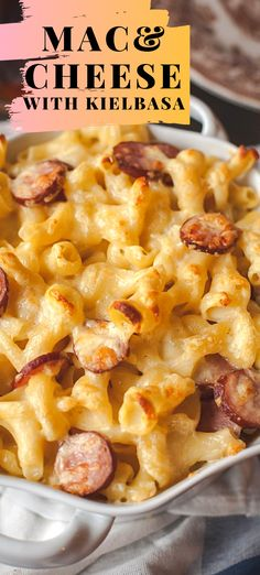The creamiest mac and cheese recipe with vintage cheddar and gruyere and smoky Polish kielbasa. Polish Sausage Recipes, Gluten Free Mac And Cheese, Keto Mac And Cheese, Macaroni Cheese Recipes, Creamy Mac And Cheese, Cauliflower Mac And Cheese, Cheese Sausage