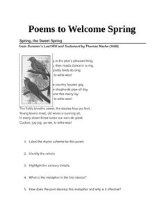 "Included in this activitiy are the following poems:""Spring,the Sweet Spring"" by Thomas Nashe, ""Sonnet 98"" by William Shakespeare,""The Spring"" by Thomas Carew, ""To Spring"" by William Blake, ""1333"" by Emily Dickinson,""Lines Written in Early Spring"" by William Wordsworth, ""A Prayer in Spring"" by Robert Frost, and ""The Enkindled Spring"" by DJ."