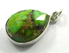 Solid 925 Silver Green Mohave Turquoise 15x20mm pear gemstone pendant jewellery #Handmade #Pendant