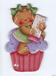 GINGERBREAD Girl with Cupcake & Sprinkles - Designed and handpainted by Pamela House