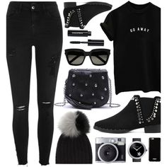 Black Outfit Look by monmondefou on Polyvore featuring River Island, WithChic, Chanel, Yves Saint Laurent, Givenchy, Bobbi Brown Cosmetics and black