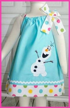 NEW Frozen Olaf Snowman applique dress by LilBitofWhimsyCoutur Little Dresses, Little Girl Dresses, Girls Dresses, Baby Dresses, Dress Girl, Sewing For Kids, Baby Sewing, Sewing Clothes, Doll Clothes
