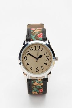 Floral & leather watch.