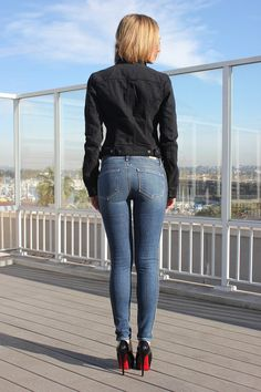 Paige Verdugo Ankle Ultra Skinny Jeans in New Delhi -back view