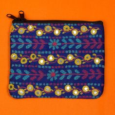 Hand embroidered blue purse by SaheliDesigns on Etsy