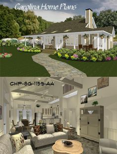 Cottage style home plan with spacious open floor plan, cathedral ceiling great room and split bedroom layout