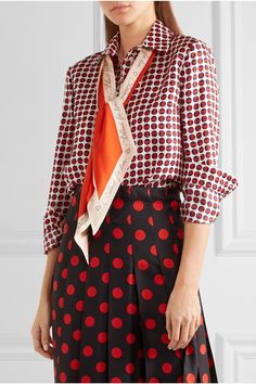 Gucci - Pussy-bow Printed Silk-twill Shirt - Red - IT42