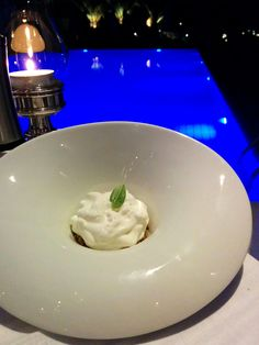 Chef's suggestion for today: Cheese mousse with basil. Dinner time at Myconian Collection Hotels. Mykonos Greece. Myconian Ambassador Hotel Relais Chateaux