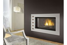 Fireplace with dual opening door system Cheminées Chazelles . Open Fires, Decoration, Firewood, Fireplaces, Cabochons, Fire Pits, Home Decor, Fire Places, Modern Fireplace