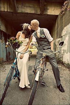 I like this dress and his outfit, but It'd be fun to go bike riding after getting married. :)