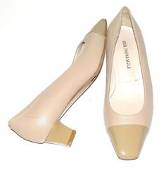 BRUNO MAGLI~TAUPE NUDE~LEATHER~PATENT LEATHER~LOW HEELS~CLASSIC PUMP SHOES~37.5 #BRUNOMAGLI #SquaredToesLowHeelElegantClassicNUDEPumps