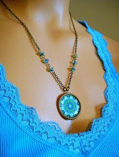 Shades of Blue Mandala Resin Art Photo Necklace by lucindascharms, $13.00