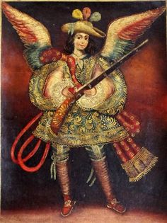 Military Angel w/ Rifle Cuzco Oil Painting Peru Folk Art 11x15 Archangel Uriel…