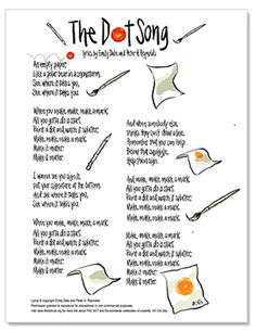 Share w/Art Teachers. The Dot Song Lyric Sheet. Peter H. Reynolds has created this free handwritten lyric sheet for you to share with your students and encourage them to Make Their Mark this Dot Day.The Dot Song lyrics and music video. Library Lessons, Art Lessons, Reading Lessons, The Dot Song, International Dot Day, Free Handwriting, Kindergarten Art, Elementary Music, Elementary Counseling