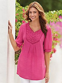 Embroidered Front-Yoke Tunic