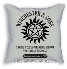 SUPERNATURAL PILLOW Dean and Sam WINCHESTER by CharmingFanDesigns
