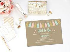 This is such a cute idea! Mint to Be printable bridal shower invitation.