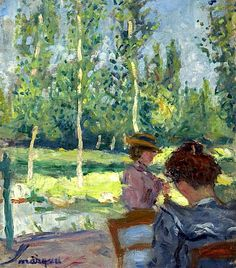 View Deux femmes au jardin - By Albert Marquet; Access more artwork lots and estimated & realized auction prices on MutualArt. Henri Matisse, Renoir, Impressionist Paintings, Landscape Paintings, Illustrations, Illustration Art, Rio Sena, Raoul Dufy, Georges Braque