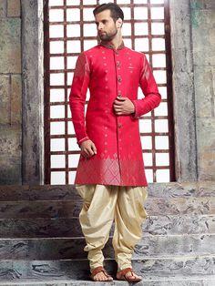 Shop Pink raw silk kurta suit online from India. Indian Groom Dress, Wedding Dresses Men Indian, Groom Wedding Dress, Wedding Men, Ethnic Wear Indian Men, Indian Men Fashion, Mens Fashion Wear, Sherwani Groom, Mens Sherwani