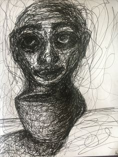 Inspired by a time I was almost constantly awake, working, going to school, and drinking so much coffee to the point that the smell alone would make me sick from anxiety for a long time. Art scribble art face anxiety depression coffee