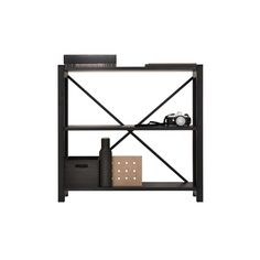 Open shelf, black lacquered, by Lundia.