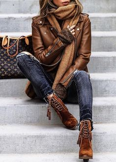 Brown Leather Jacket and Brown Suede Boots - Church girl outfit