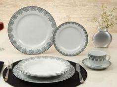 Aparelho de Jantar Chá 30 Peças Schmidt - Porcelana Redondo Branco Prática Voyage Taís
