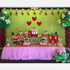 Strawberry Shortcake birthday party dessert table! See more party ideas at CatchMyParty.com!