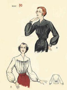 "1950's Vintage Sewing Pattern Gathered Front Slashed Yoke Blouse Rare Bust 30"" #Butterick"
