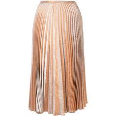 Maria Lucia Hohan pleated midi skirt (4,765 PEN) ❤ liked on Polyvore featuring skirts, metallic, metallic skirt, calf length skirts, pleated midi skirt, mid-calf skirts and pleated skirt