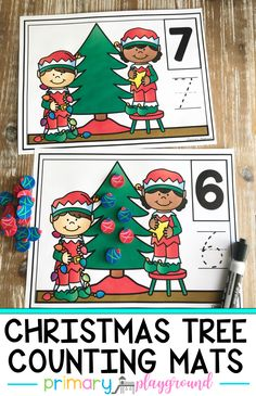 Your students can help the elves decorate the Christmas tree and practice their numbers all at the same time with these fun counting mats! #countingmats #christmascountingmats #christmasmathcenter