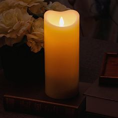Outdoor Décor-Led Candle Flameless Candle Moving Wick FreeFlowing 3D Fireless flame Real Wax LED Pillar Candle Light With TimerHome Wedding candleBatteryOperated375x9 InchIvory >>> Find out more about the great product at the image link.