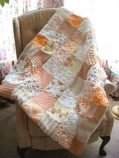 CUSTOM QUILT SAMPLE - Sweet Summer Peach Vintage Cotton Chenille Quilt - Price…