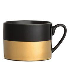 Porzellanbecher mit Druck | Schwarz/Goldfarben | Home | H&M DE