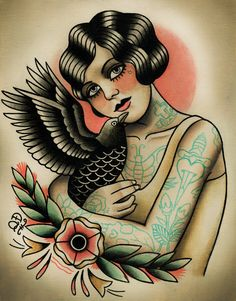 Flapper and Crow Tattoo Art