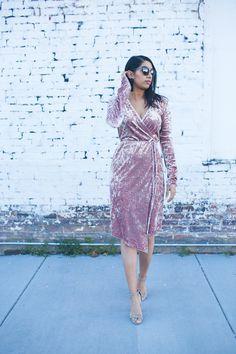 mom fashion blogger Mom Fashion, Womens Fashion, Mom Style, Plus Size Fashion, Personal Style, Wrap Dress, Velvet, Street Style, Night