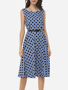 Zips Round Neck Blended Assorted Colors Polka Dot Printed Skater Dress
