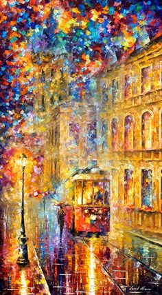Last Trolley  PALETTE KNIFE Cityscape Modern by AfremovArtStudio