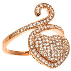 Dizeo 18 Karat Rose Gold over Sterling Silver with Simulated White Diamond Heart Ring #rosegold #gold #diamonds #diamondring #jewelry