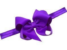 Purple bow headband - purple headband with matching 4 inch boutique bow - baby headband, newborn headband on Etsy, $7.00