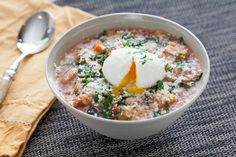 Tuscan Ribollita Soup with Soft-Boiled Farm Eggs & Lacinato Kale. Visit http://www.blueapron.com/ to receive the ingredients.