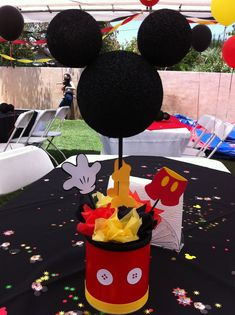 Mickey Mouse centerpieceMickey Mouse Centerpiece More Mickey 1st Birthdays, Mickey Mouse First Birthday, Mickey Mouse Clubhouse Party, Mickey Mouse Baby Shower, Fiesta Mickey Mouse, Mickey Party, Mickey Mouse Parties, 1st Boy Birthday, Birthday Ideas