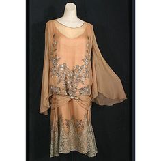 1920's peach lace drop-waist gown with flutter sleeves
